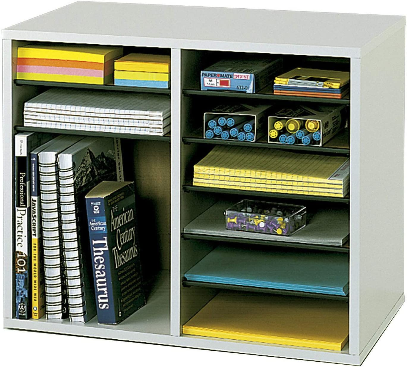 Safco Products Wood Adjustable Literature Organizer, 12 Compartment 9420GR, Gray, Durable Construction, Removable Shelves : Desk Organizer : Office Products