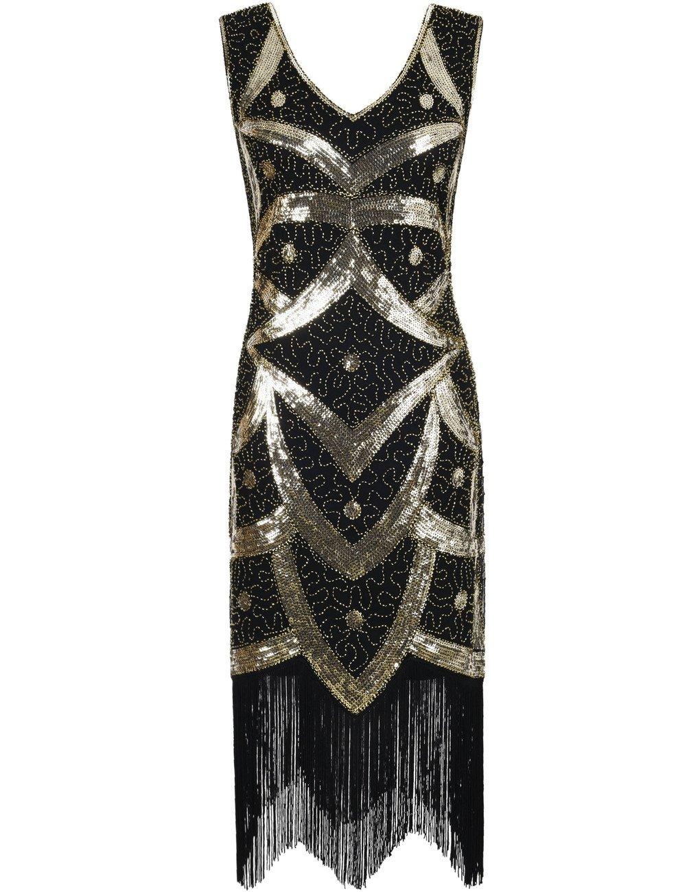 Kayamiya Damen 1920er Great Gatsby Pailletten Perlen Inspiriert ...
