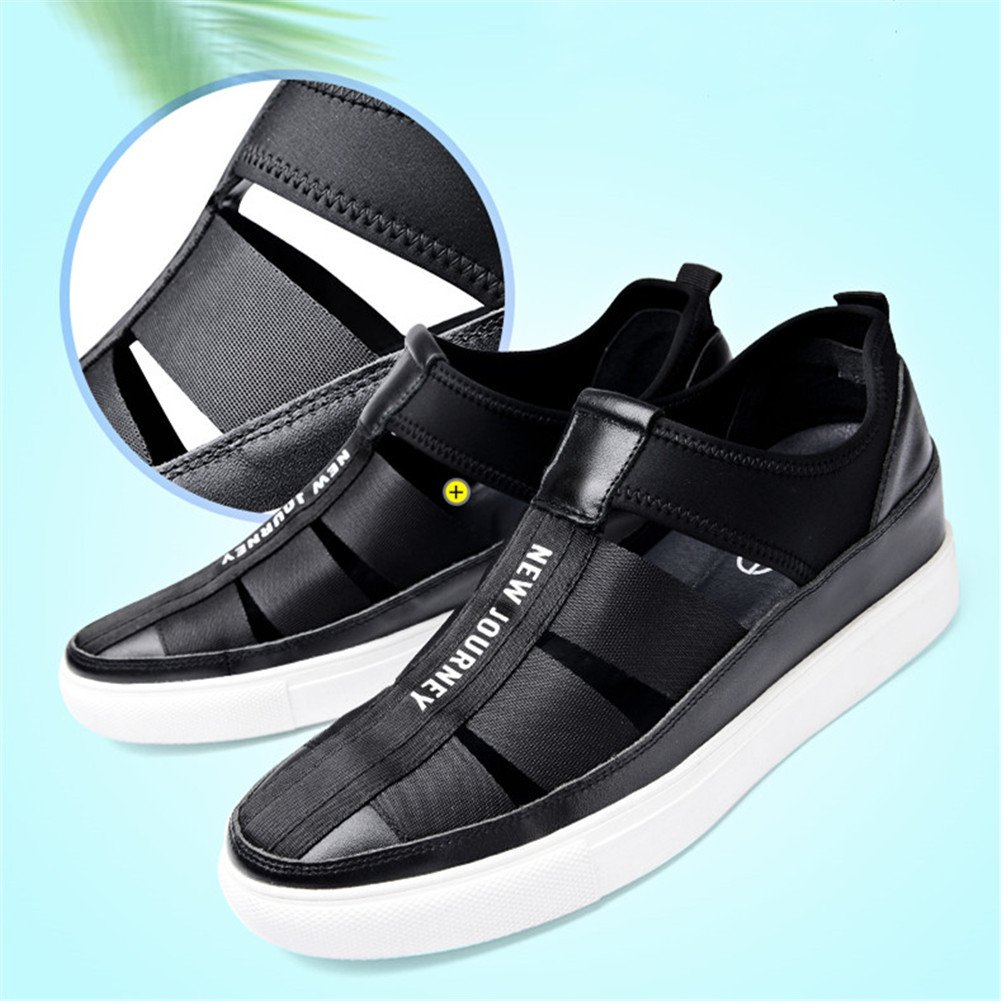 GOG Men's Calf Leather Splice Lycra Toe Comfort Closed Toe Lycra Slip on Sandals Shoes Height Increasing US5.5/EUR37|Black B07DGW9Z52 f61199