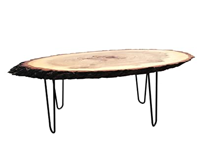 Modern Solid Natural Wood Round Slab End Table (Coffee Table Culr Legs2