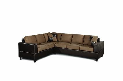 Bobkona Trenton 2 Piece Sectional Sofa With Accent Pillows, Saddle