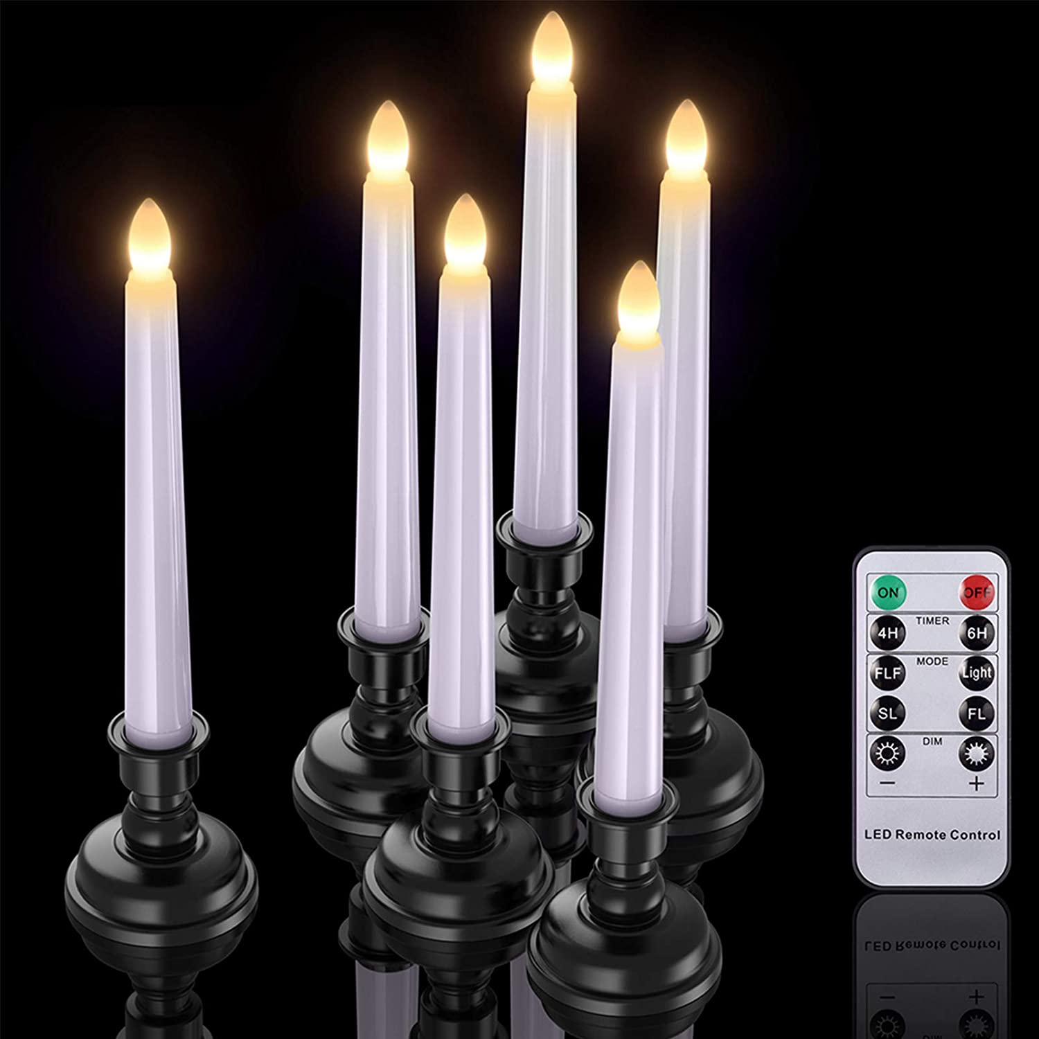 LED Taper Candles with Timers, PChero 6 Pack Flameless Battery Operated Flickering Window Candles with Remote and Candlestick Holders for Thanksgiving Christmas Home Decorations