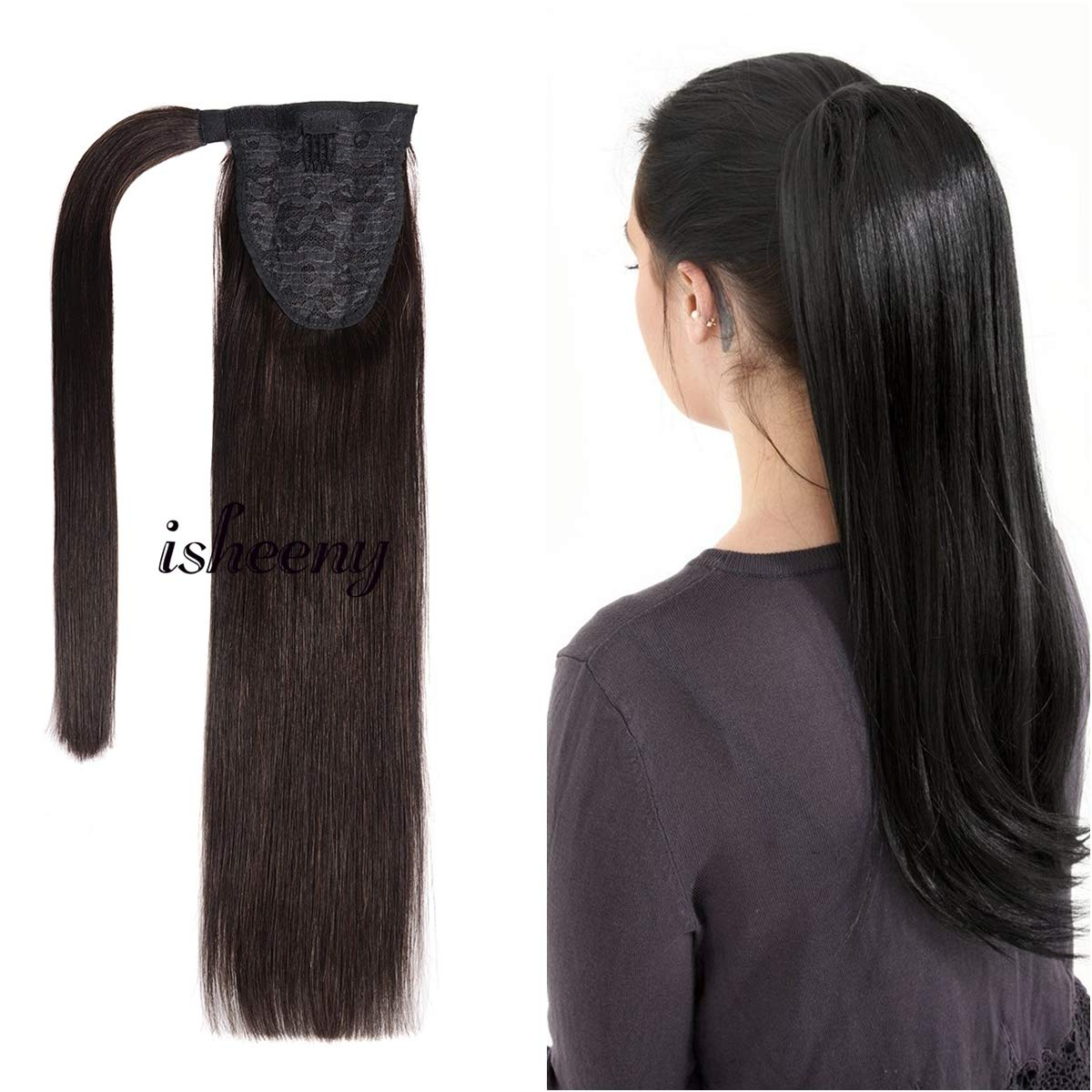 16 Inches Clip in Human Ponytail Hair Extensions Remy Human Hair Piece for Women 1 Piece Hairpiece 70 Grams Wrap Around Ponytail Human Hair Extensions 1B Color by isheeny