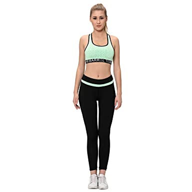 d11ceea005e42 Elina Women's Sports Bra Yoga Pants Gym Outfits Breathable Exercise  Stretchable Padded Bra and Leggings: Amazon.in: Clothing & Accessories