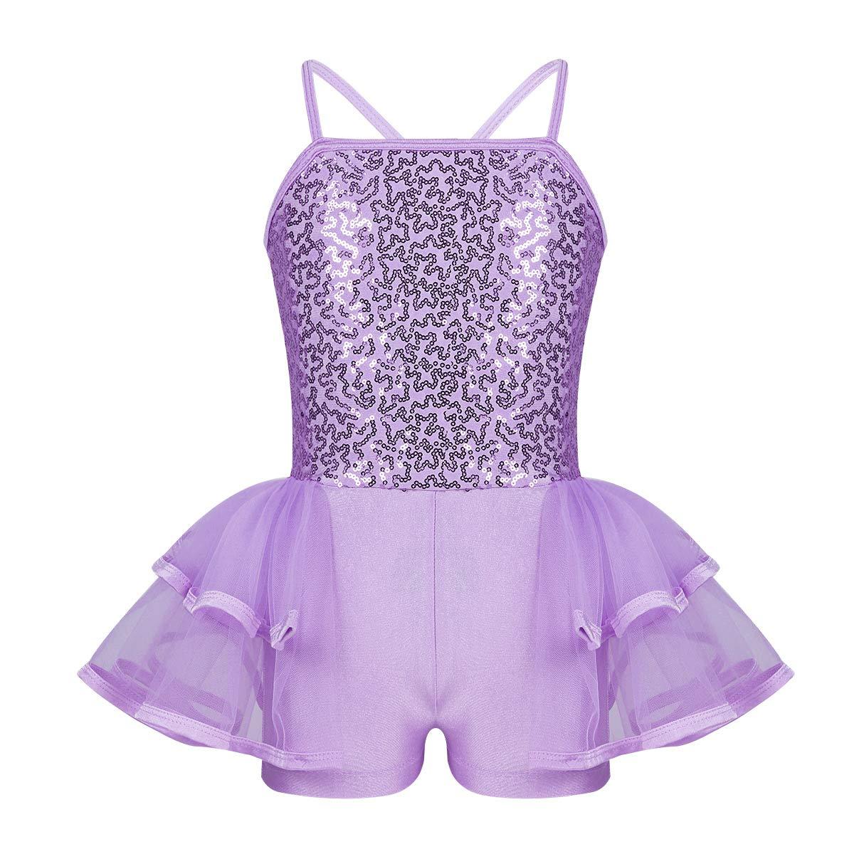 ranrann Girls Ballet Dance Shiny Sequins Criss Cross Back Gymnastic Leotard Tiered Mesh Tutu Dress