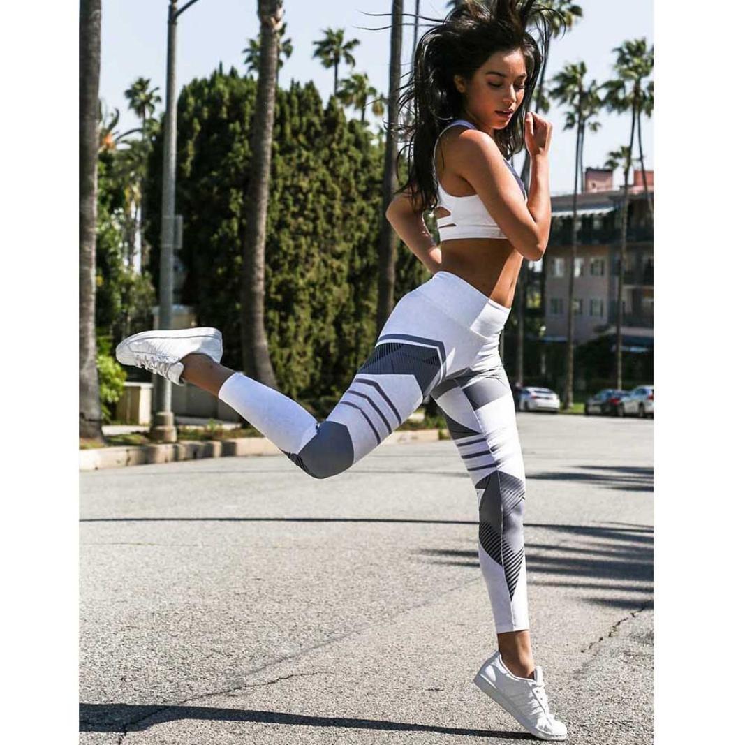 Leggings Capris OOEOO Women Geometry Yoga Workout Mid Waist Running Fitness Elastic Pants