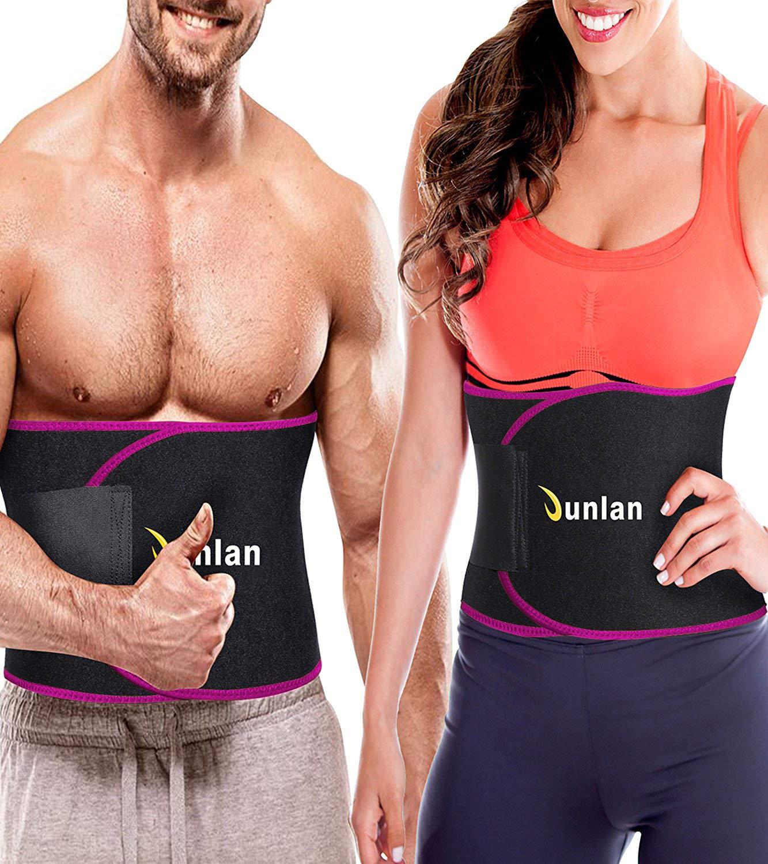 Junlan Workout Waist Trainer Weight Loss Trimmer Belt Corset Exercise Body Band Gym Sauna Sweat Wrap Sport Slimming Abs Belts (Rose Red Waist Trimmer Training Belt, M)