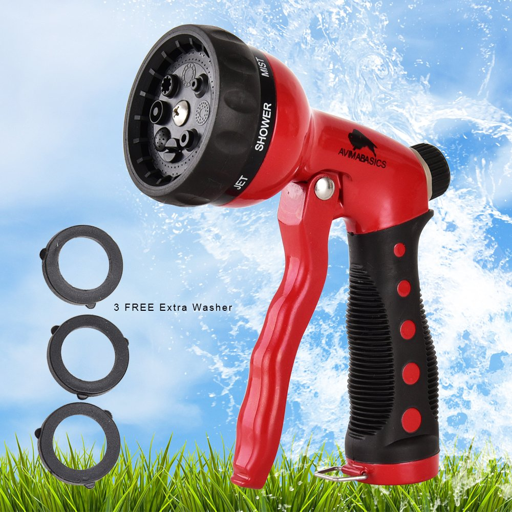AvimaBasics Best Premium Durable Garden Hose Nozzle – Hand Sprayer Heavy Duty 8 Adjustable Pattern Metal Watering Gun – High Pressure - Perfect for Garden Plants Lawn Car Wash Washing Pets (1)