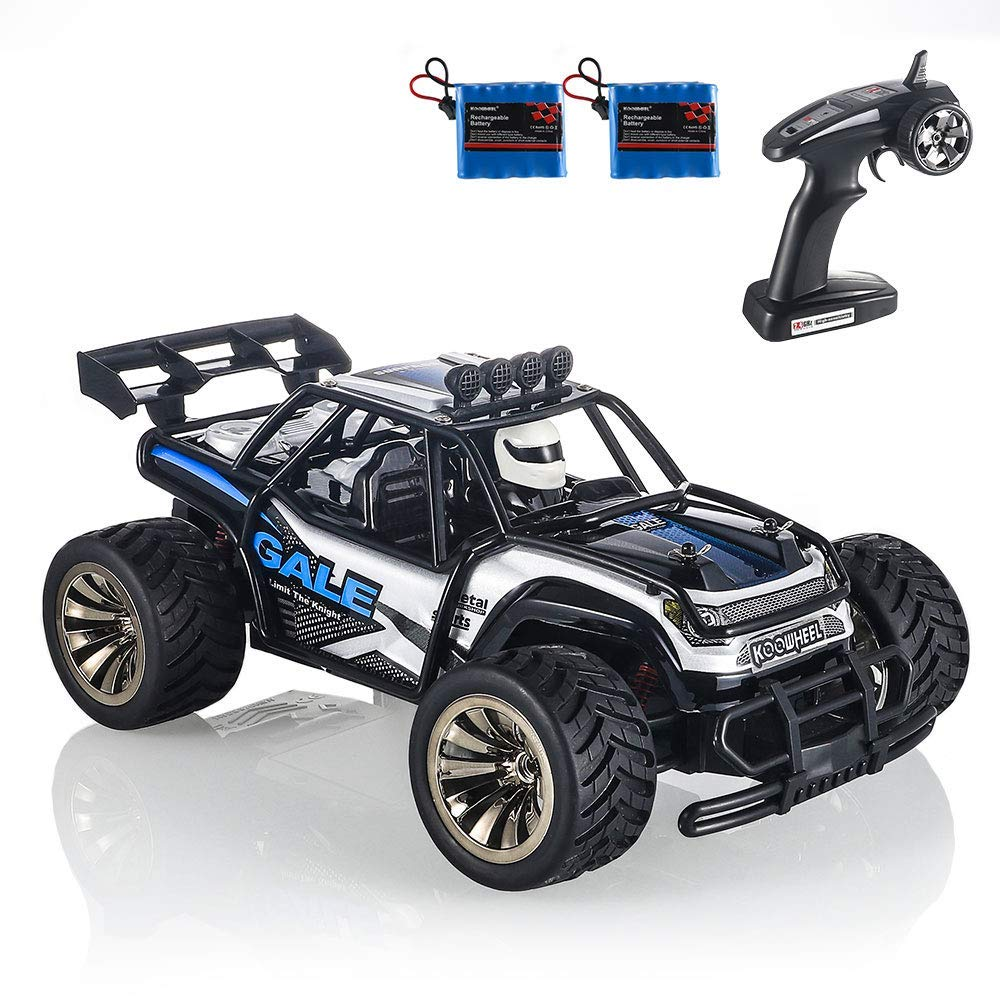 RC Cars KOOWHEEL 1:16 Scale 2WD Off Road Remote Control Cars with 2 Rechargeable Battery 2.4GHz Radio Remote Control Truck Monster High Speed Crawler USB Charger RC Car for Adults and Kids(Blue) by KOOWHEEL (Image #2)