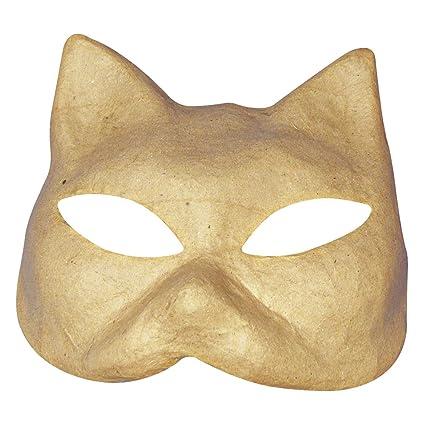 Rayher 8107100 Papel Maché Máscara de gato, 17 x 16 cm