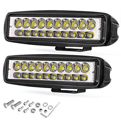 LED Light Bar, Wayup 2Pcs 80W 6 Inch LED Work Light Pods Spot Beam Off Road Driving Light Slim Dual Row Fog Light Waterproof for Trucks ATV UTV SUV Car Boat Golf Cart: Automotive