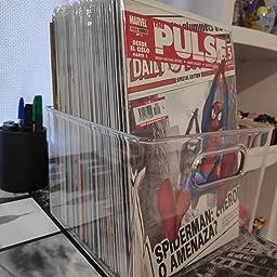 libros mDesign Juego de 2 cajas organizadoras de pl/ástico cuadradas etc Cajas para c/ómics Organizadores de libros con asas incorporadas transparente peri/ódicos revistas