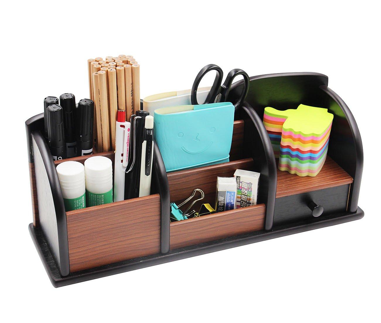 PAG Office Supplies Wood Desk Organizer Pen Holder Accessories Storage Caddy   eBay