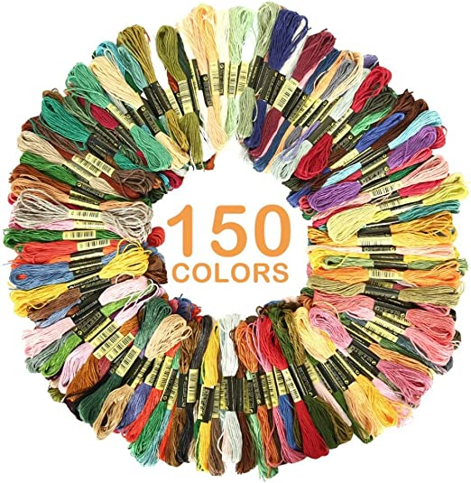 Cross Stitch Project for Beginners Adults Knitting Embroidery Set Cross Stitch Sewing Frame Mix Colors 100PCS+54 Tool Sewing Thread Kit Skeins