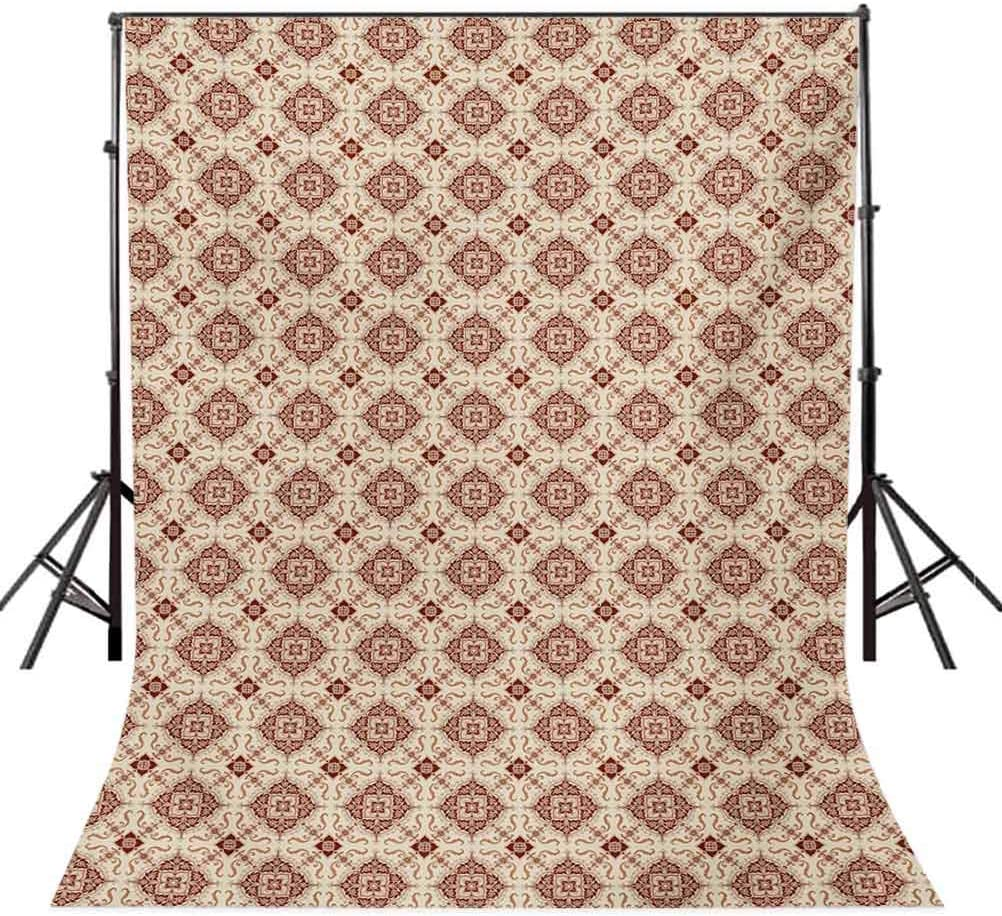 Vintage 6.5x10 FT Backdrop Photographers,Victorian Inspirations Pattern Ancient Flowers Curves and Spirals Background for Baby Birthday Party Wedding Vinyl Studio Props Photography