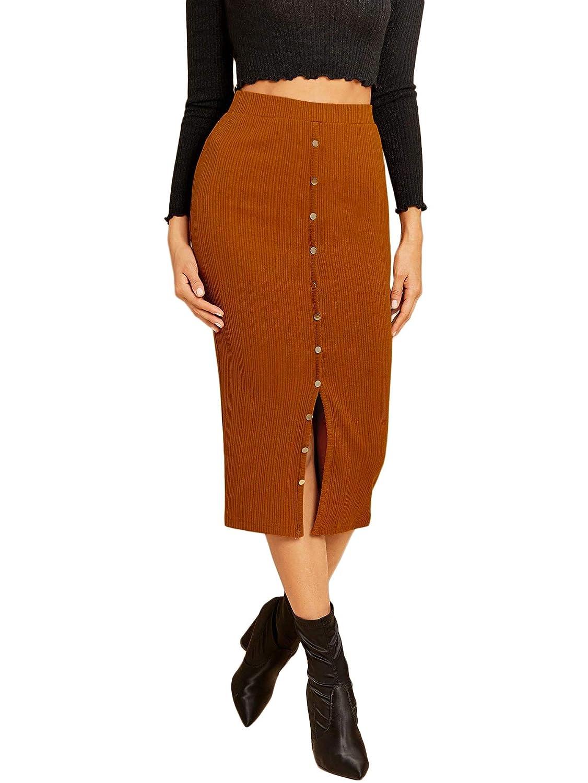 Brown WDIRARA Women's Casual High Waisted Button Up Knee Length Bodycon Skirt