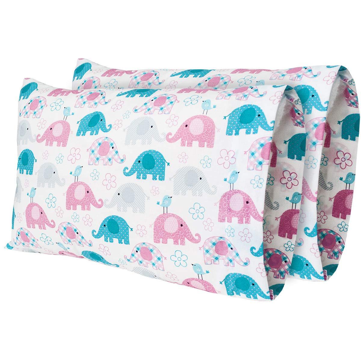 AB Lifestyles (2パック 12 x 18 300スレッドカウント 100%コットンプリントデザイントラベルピローケース MyPillow Go Anywhere 枕にフィット、トラベルサイズ、幼児サイズ枕カバー(米国製) 12x18 B07P9TYXYD Trunks Pastel
