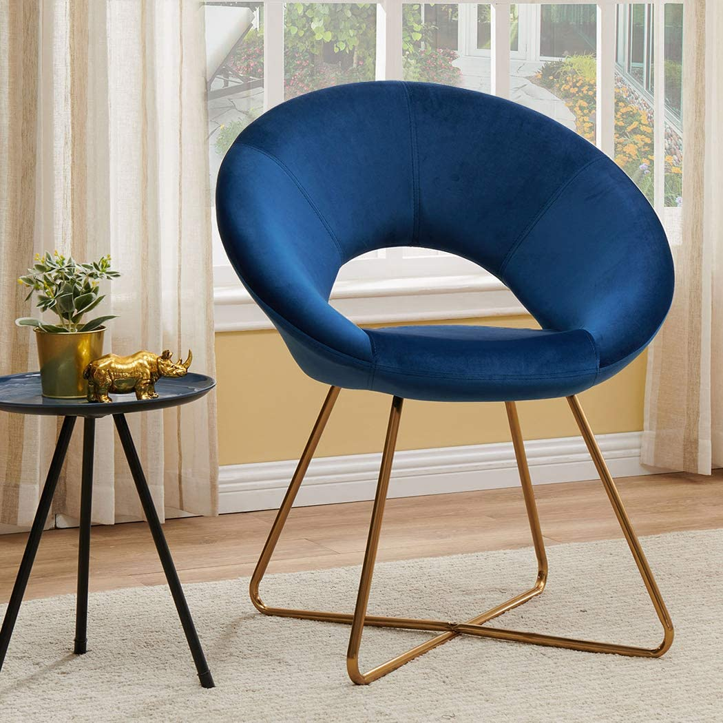 Arm Club Accent Chair,Duhome Modern Chair Velvet Accent Chair Reception Room Arm Chair with The Golden Metal Frame Legs 1pcs