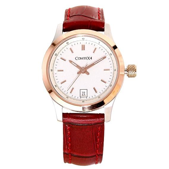 reloj de mujer con esfera blanca de oro rosa caja correa de cuero marrón: Amazon.es: Relojes