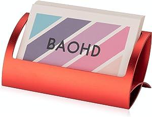 Desk Metal Business Card Holder, Modern Aluminum Business Card Display Holder Stand, Desktop Name Card Rack Organizer for Office Home (Red)