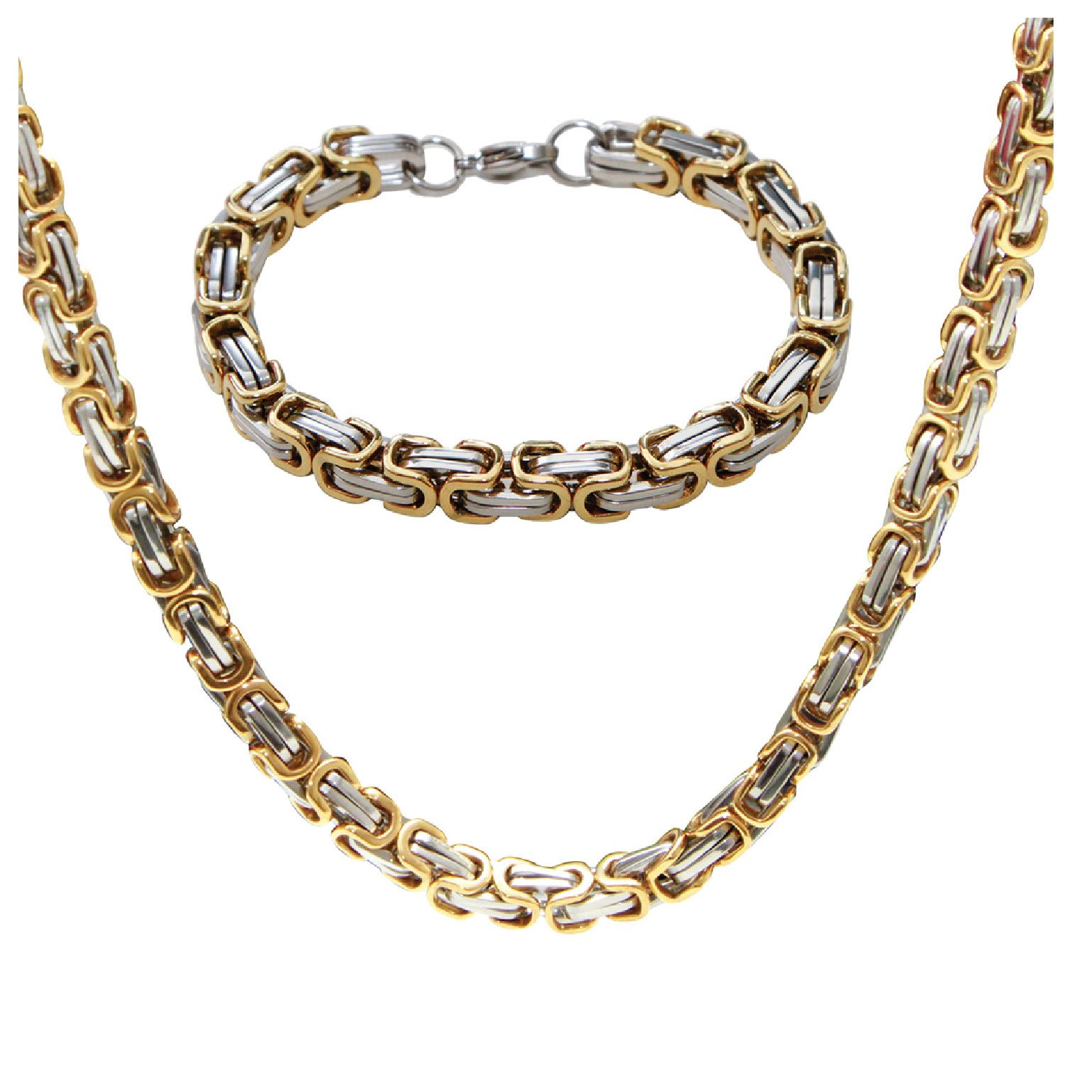 06db49fe637ef BodyJ4You Men's Bracelet and Necklace Stainless Steel Byzantine Chain Link  Jewelry Set with Gift Box