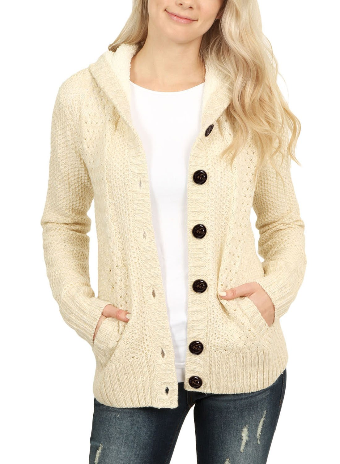 Asvivid Women Fashion Button Down Cardigan Sweater Casual Knit Warm Short Tops Coat Size UK6-24