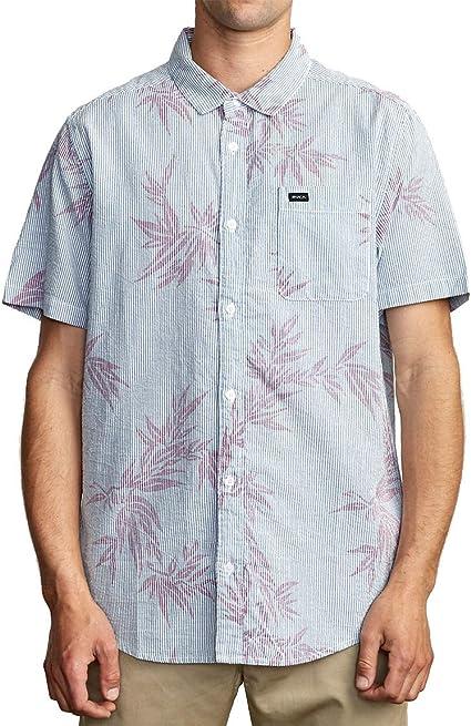 RVCA Richmond Camisa de manga corta tejida con botón frontal para hombre: Amazon.es: Ropa y accesorios