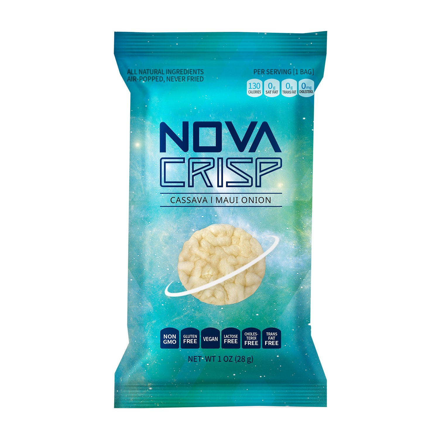 Snack Chips All Natural Popped Cassava Healthy Gluten Free Non-GMO Nut Free Snacks (Maui Onion, 1oz, 6 PACK) by NOVACRISP (Image #2)