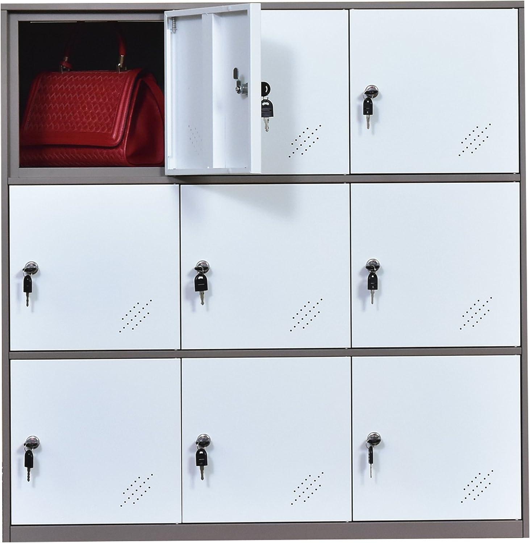 Amazon.com: 9 Door Metal Locker, Office Cabinet Locker,Living Room And School Locker Organizer,Home Locker Organizer Storage For Kids,Bedroom And Office Storage Cabinet With Doors And Lock For Cloth White: Kitchen & Dining