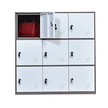 9 Door Metal Locker, Office Cabinet Locker,Living Room And School Locker  Organizer,