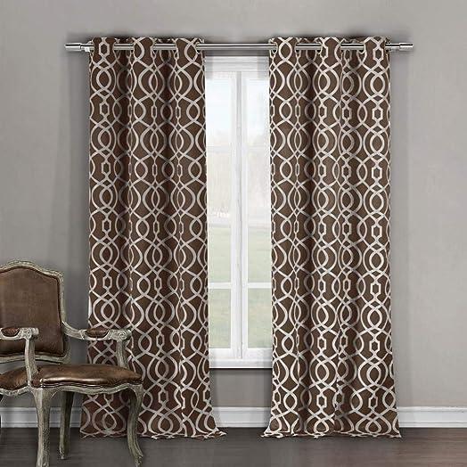 Duck River Textile Harris Heavy Geometric Insulated Blackout Room Darkening Window Curtain Set of 2 Panels