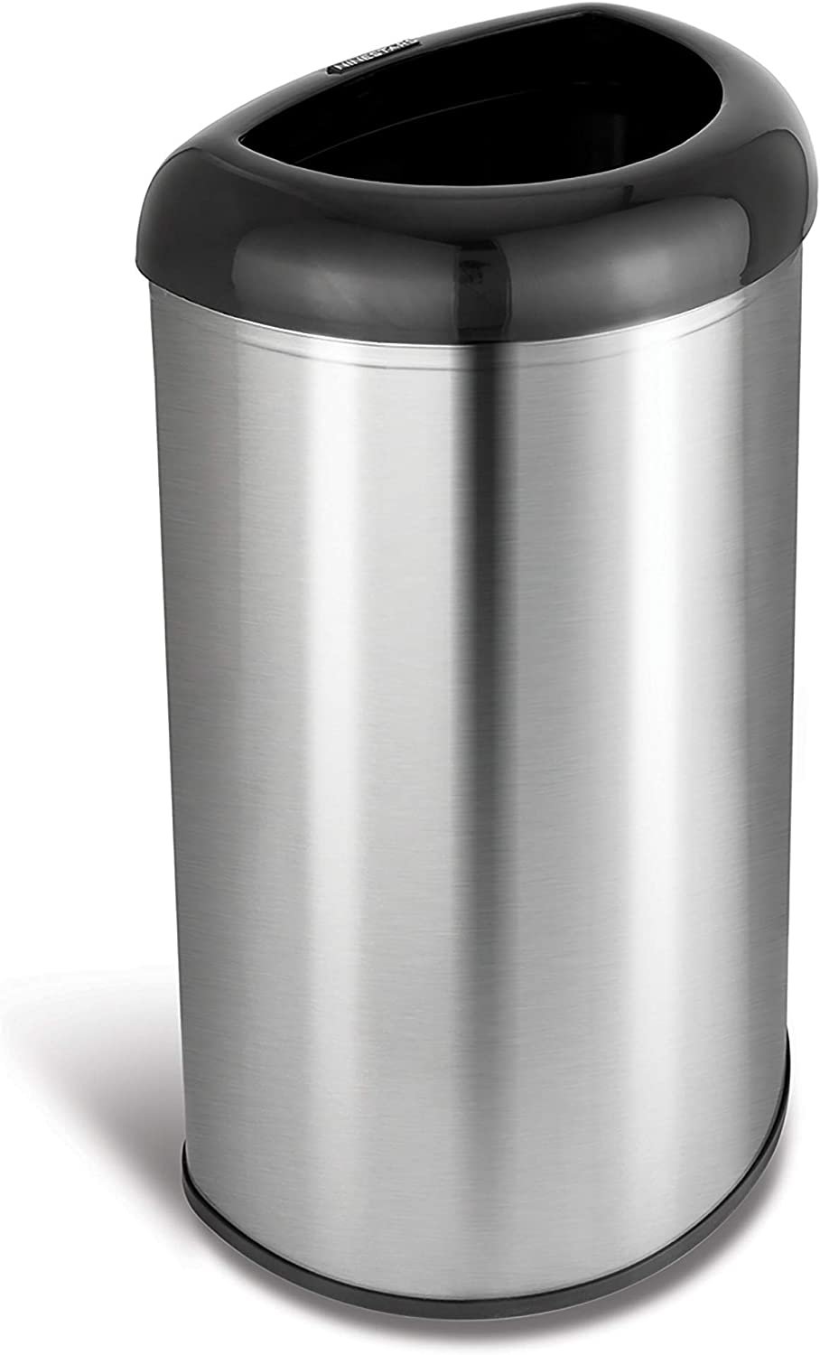 NINESTARS OTT-50-19BK Open Top Office Bathroom Trash Can, 13 Gal 50L, Stainless Steel Base (D Shape, Black Lid)