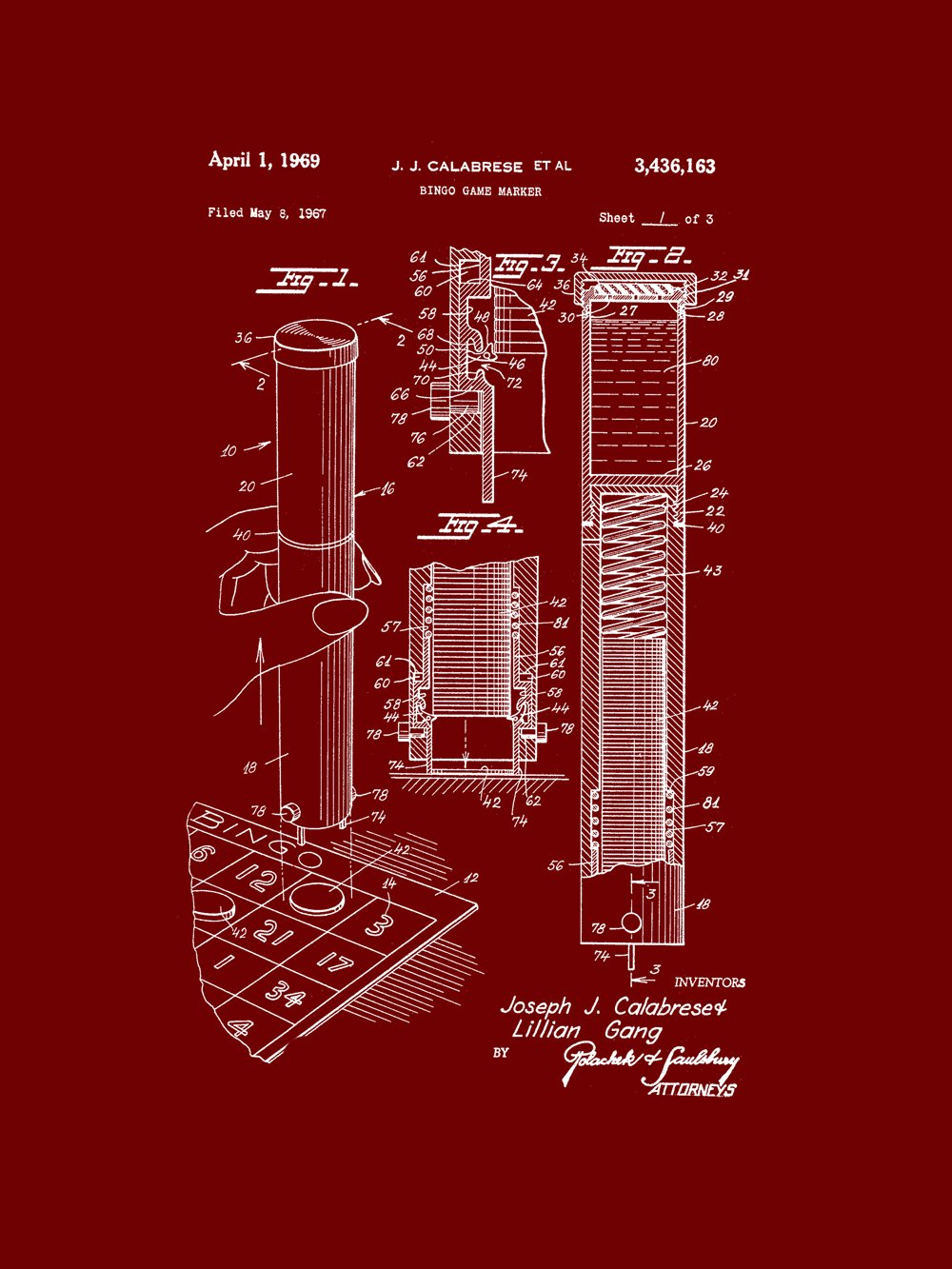 Framable Patent Art the Original Poster Art Print Bingo Night Family Game 18in by 24in Patent PAPSP104BR, Burgundy