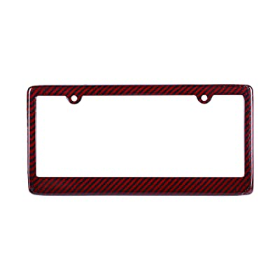 BLVD-LPF OBEY YOUR LUXURY Real 100% Red Carbon Fiber License Plate Frame TAG Cover FF: Automotive