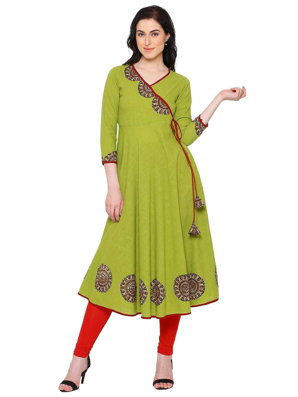 Green Color Women's Cotton Angrakha Kurta