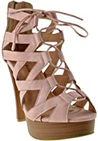 Top Moda Table 8 Peep Toe High Heel Lace Up Strappy Pumps