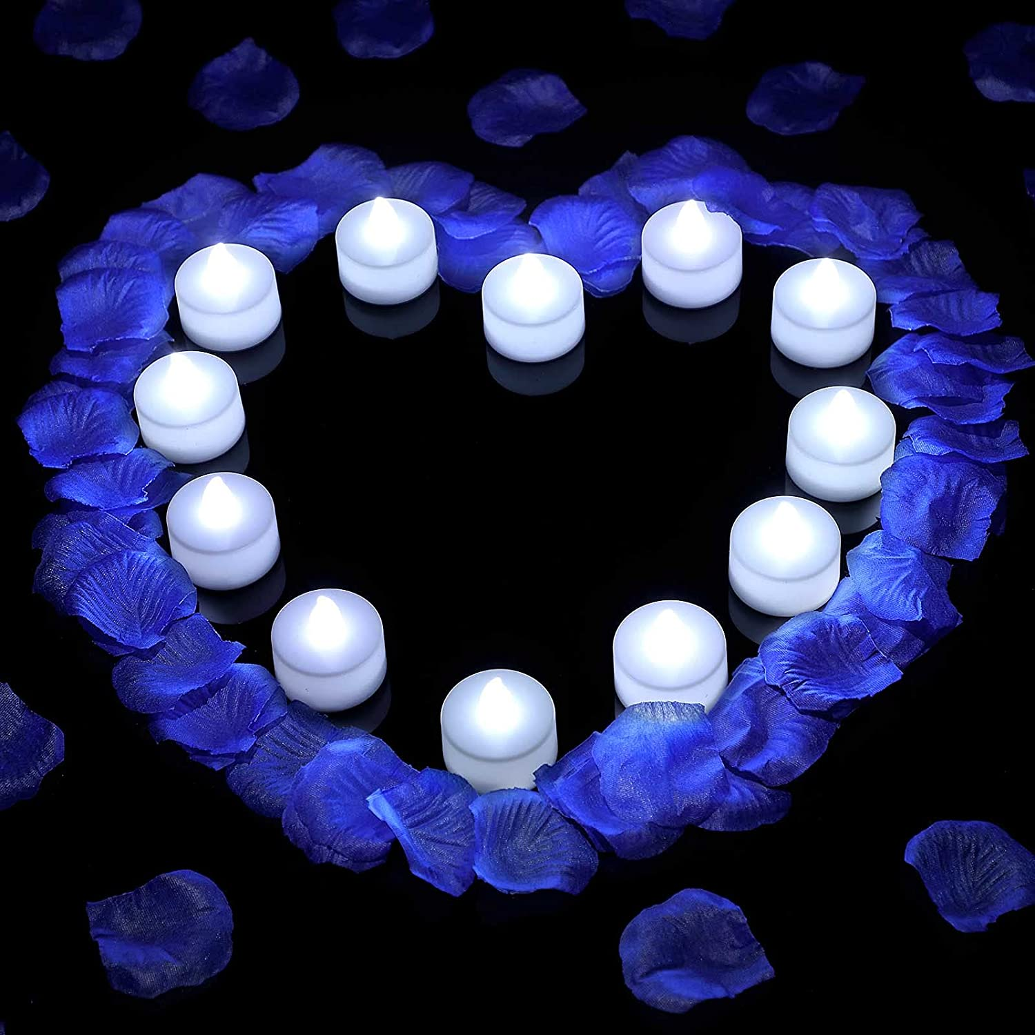 500 Pieces Artificial Fake Rose Petals with 12 Pieces Flameless LED Tea Lights Candles for Romantic Night, Valentine's Day Wedding Flower Decoration Anniversary Honeymoon (Blue Petal, White Tea Light)