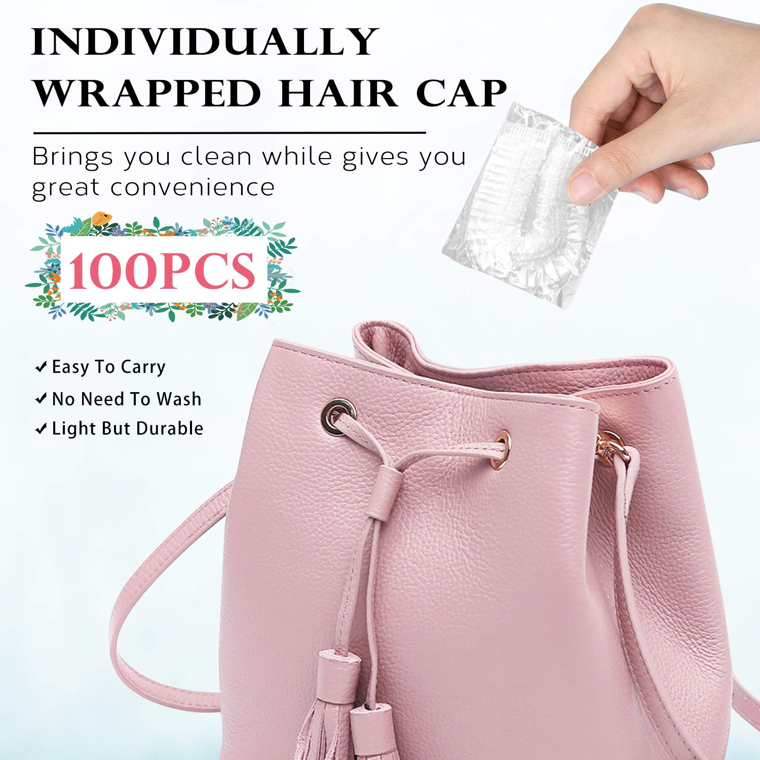 VEGOLS 100Pcs Disposable Shower Caps for Women, Individually Wrapped Thickening Elastic Clear Plastic Bath Caps, Portable Waterproof Hair Cap for Travel Spa, Home Use, Hotel and Hair Salon - Clear : Beauty
