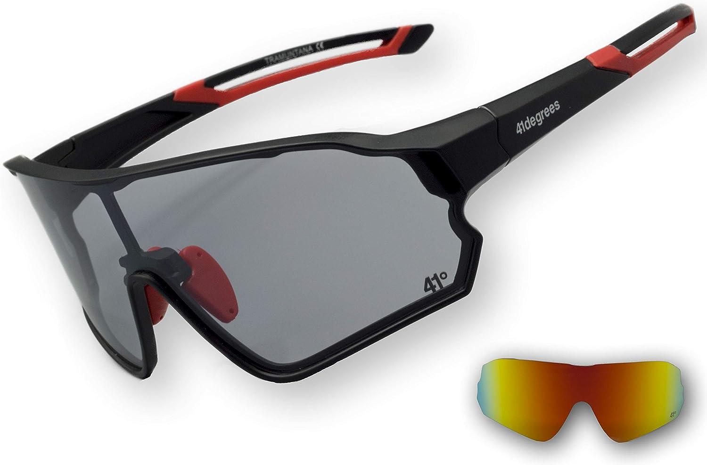 41degrees. Gafas de Sol Fotocromáticas con 2 Lentes Intercambiables. 2 en 1 Gafas de Ciclismo Polarizadas UV400 para Running, Esquí. Máscara Unisex Modelo Tramuntana