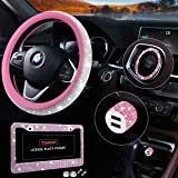 Bling Car Accessories Set, Pink Bling Steering Wheel Cover for Women Universal Fit 15 Inch, Bling License Plate Frame for Wom