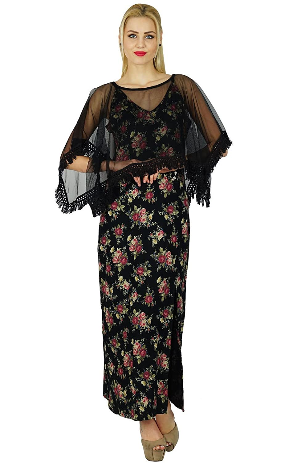 Bimba Women Long Maxi Floral Printed Side Slit Custom Dress With Chic Poncho Top