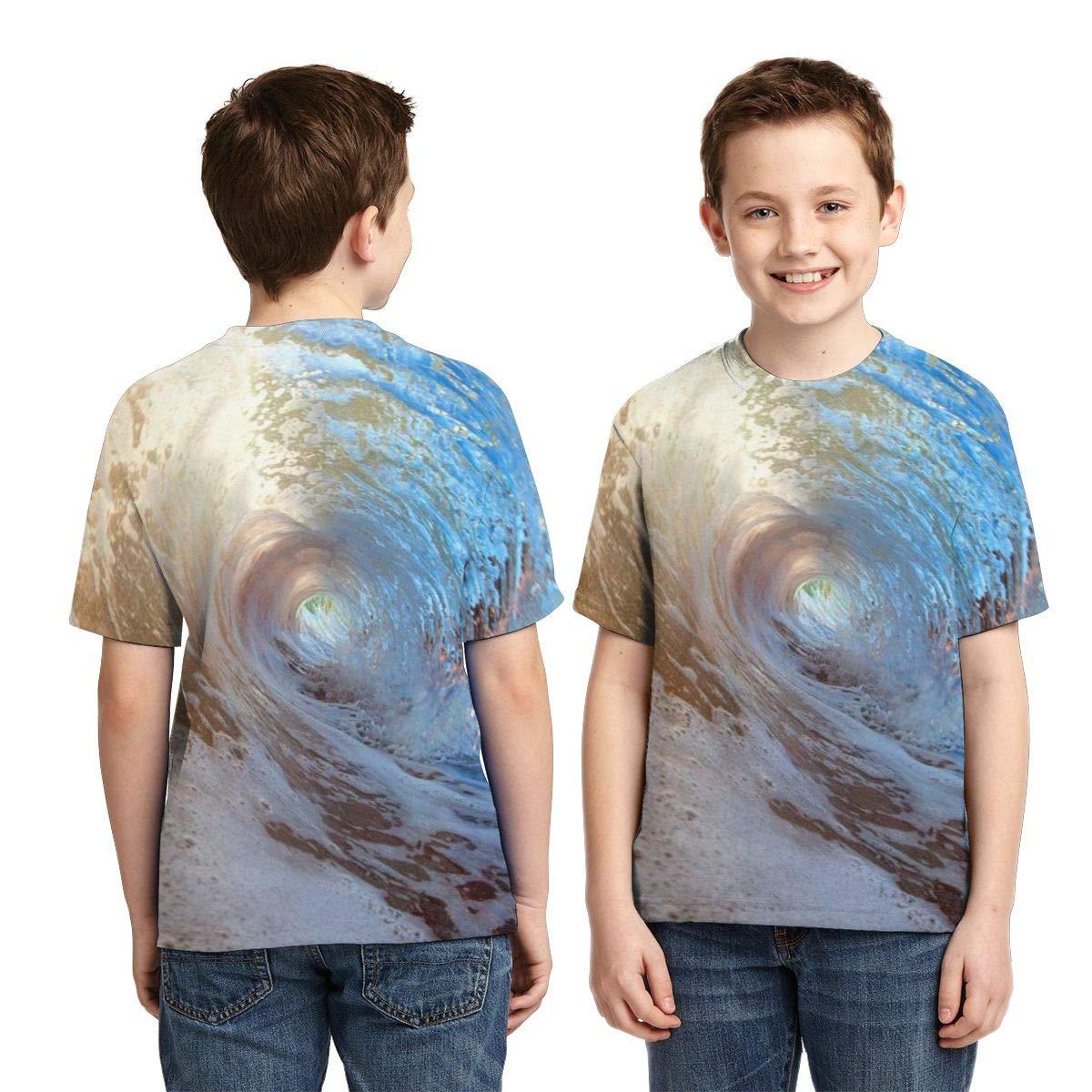 Hawaii Waves Sea Unisex Child Teens Crew-Neck Short Sleeve T-Shirt Girl Boys Cool Tee Shirt Tops XS
