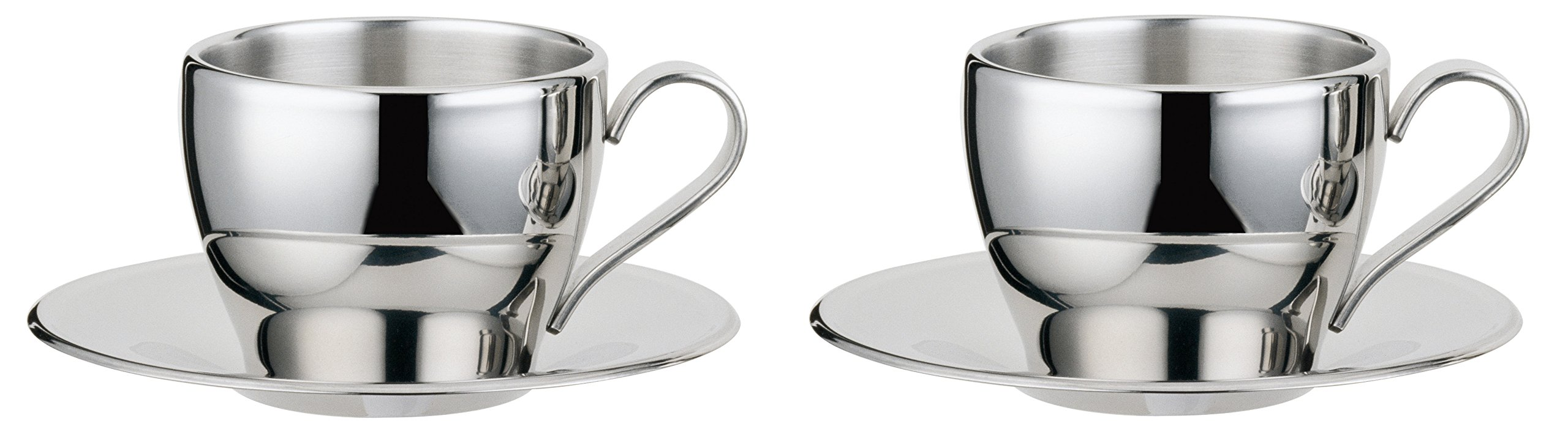 Visol Cappuccino Stainless Steel Double Walled Cup with Saucer (2 Pack), Silver