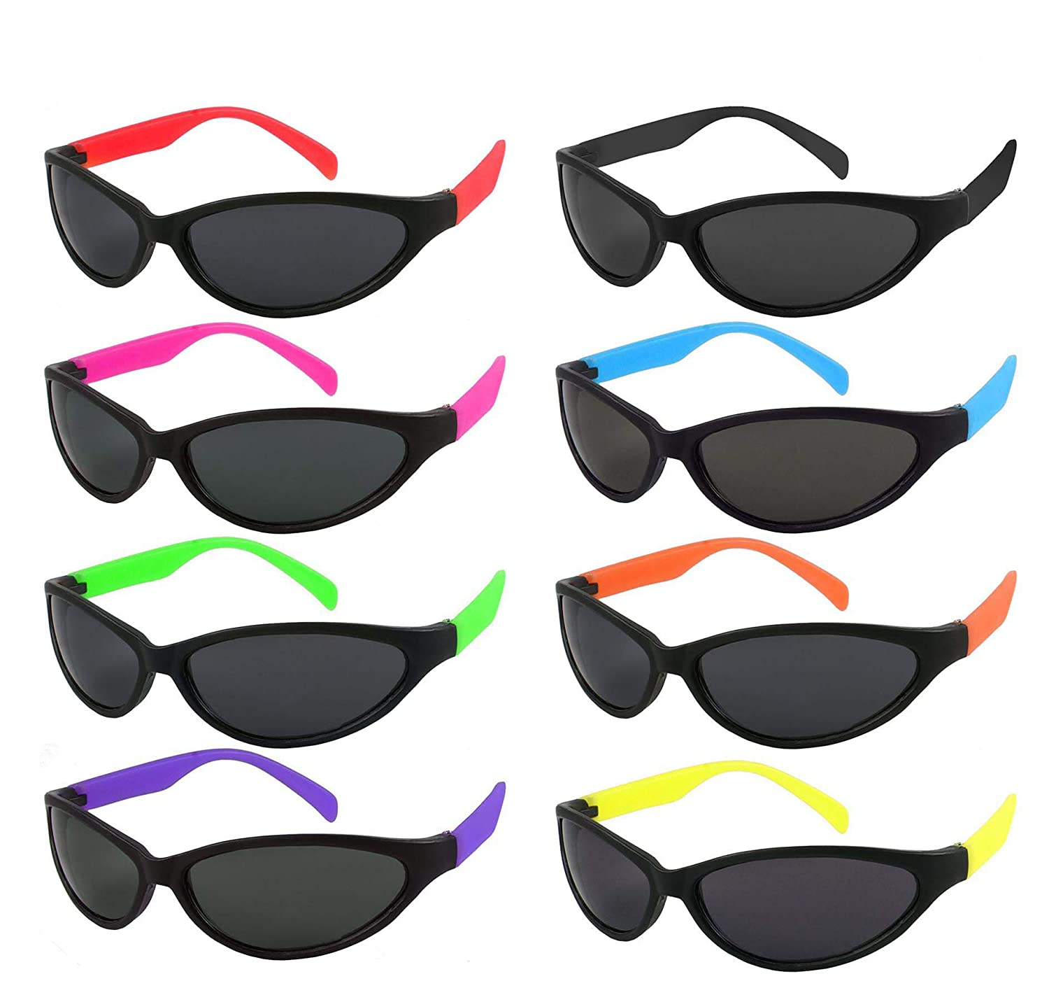 9b928563a5 Amazon.com  Edge I-Wear 6 Pack Neon Party Sunglasses with CPSIA  certified-Lead(Pb) Content Free UV 400 Lens(Made in Taiwan)5402RA-SET-6   Clothing