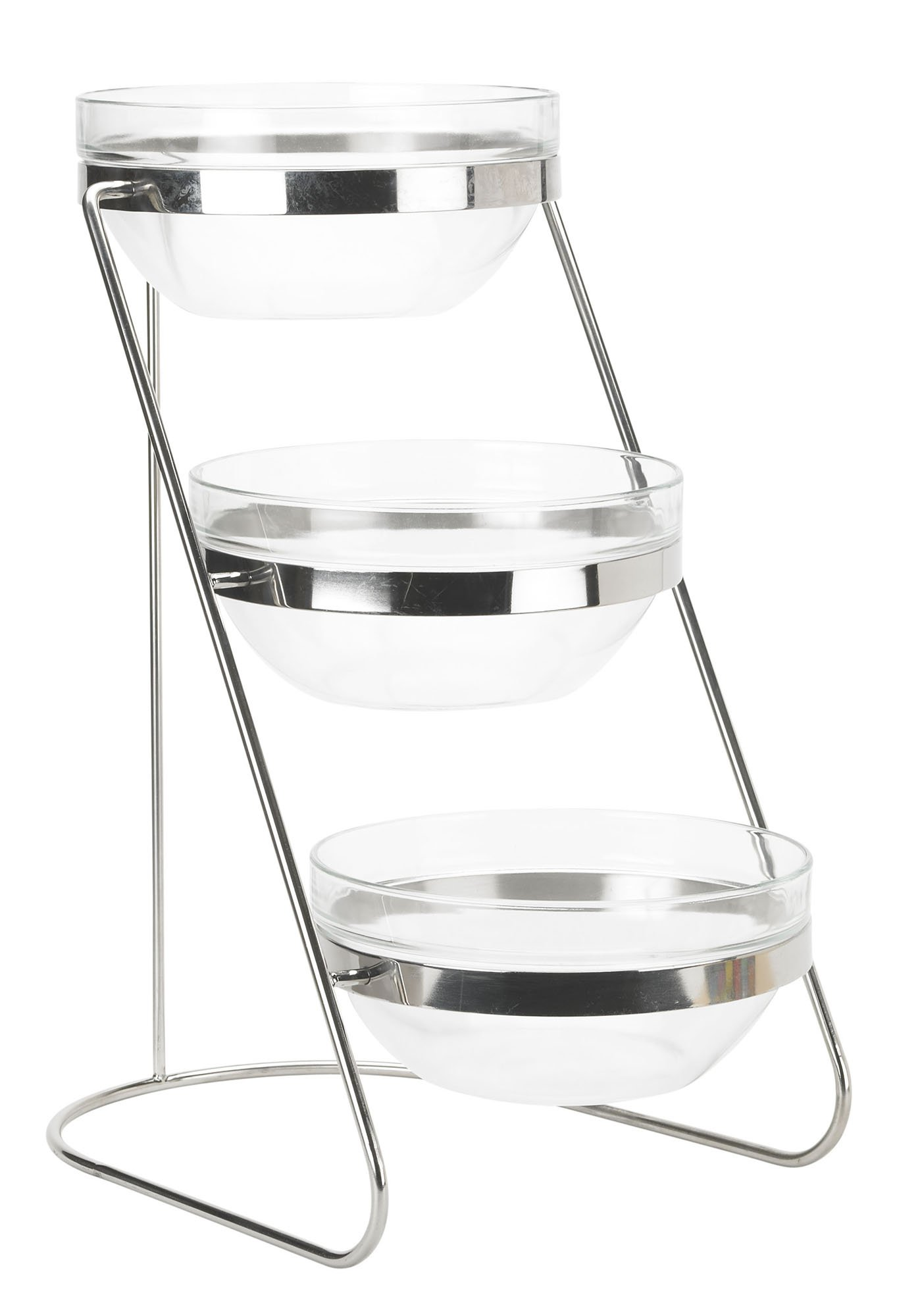 Winco TDS-3 3 Tier Glass Bowl Display Set