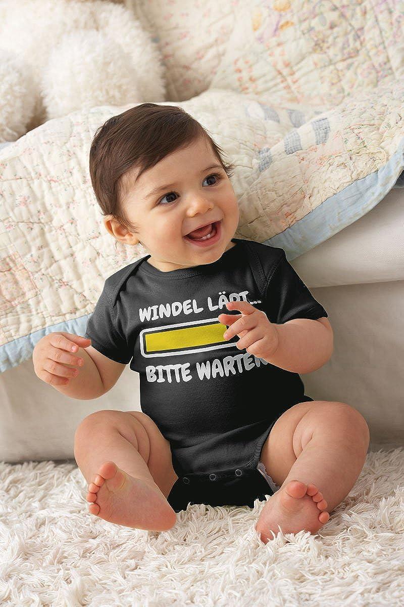 Lustige Babykleidung Baby Kurzarm Body Bitte Warten! Shirtgeil Windel L/ädt