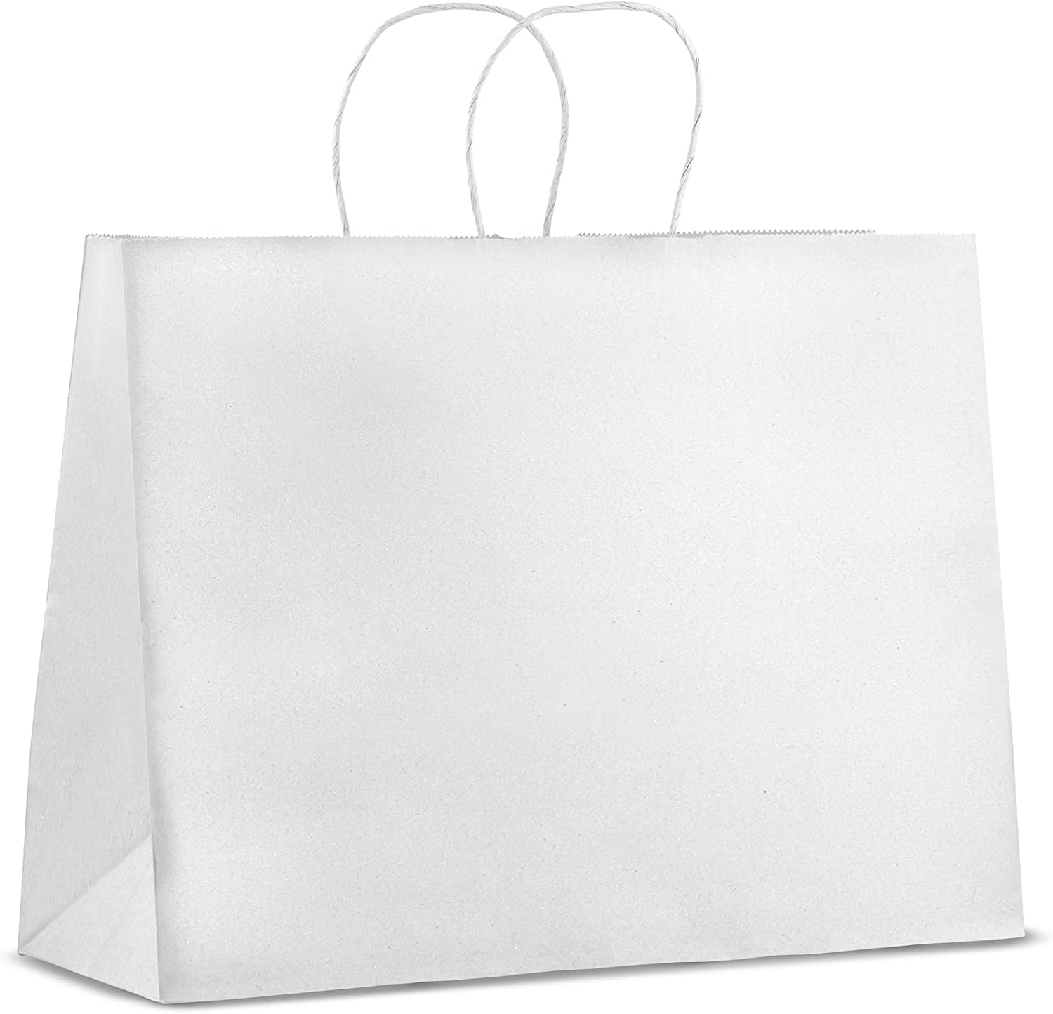 50 Pack - Premium Quality - Trendy Storage Kraft Paper Bags with Handles | Bulk Large White Paper Gift Bags, Perfect Kraft Bag, Party Bag or Shopping Bag (16