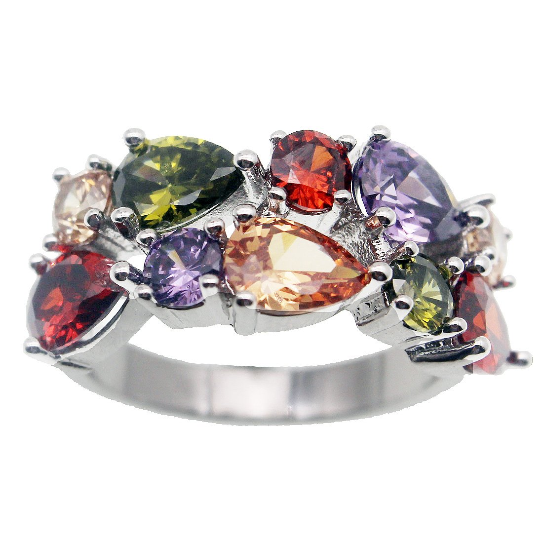 Gemstone Ring Morganite Garnet Amethyst Peridot 925 Silver for women, girl 6 7 8 9 10 hermosa.cc