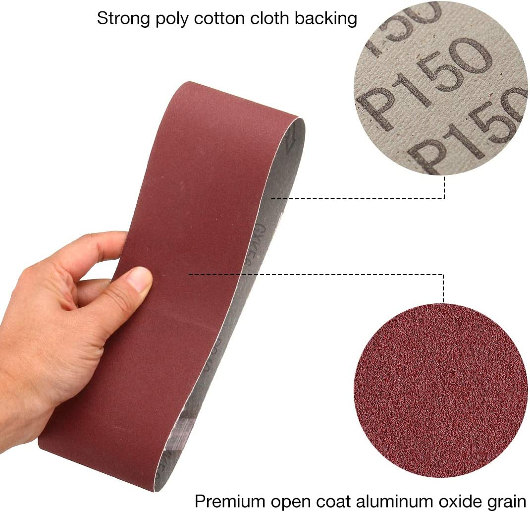 Miady 3-Inch x 21-Inch Aluminum Oxide Sanding Belts 15-Pack 80//120//150//240//400 Assorted Grits