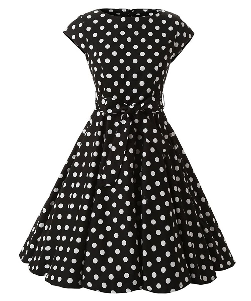 Ensnovo Womens 1950s Polka Dot Cap Sleeve Vintage Rockabilly Swing Party Dress 66-05-1295